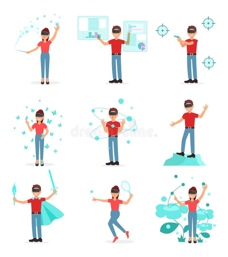 Colección de gente que juega al videojuego en realidad virtual con las auriculares de VR, persona que usa tecnología del virtuall ilustración del vector