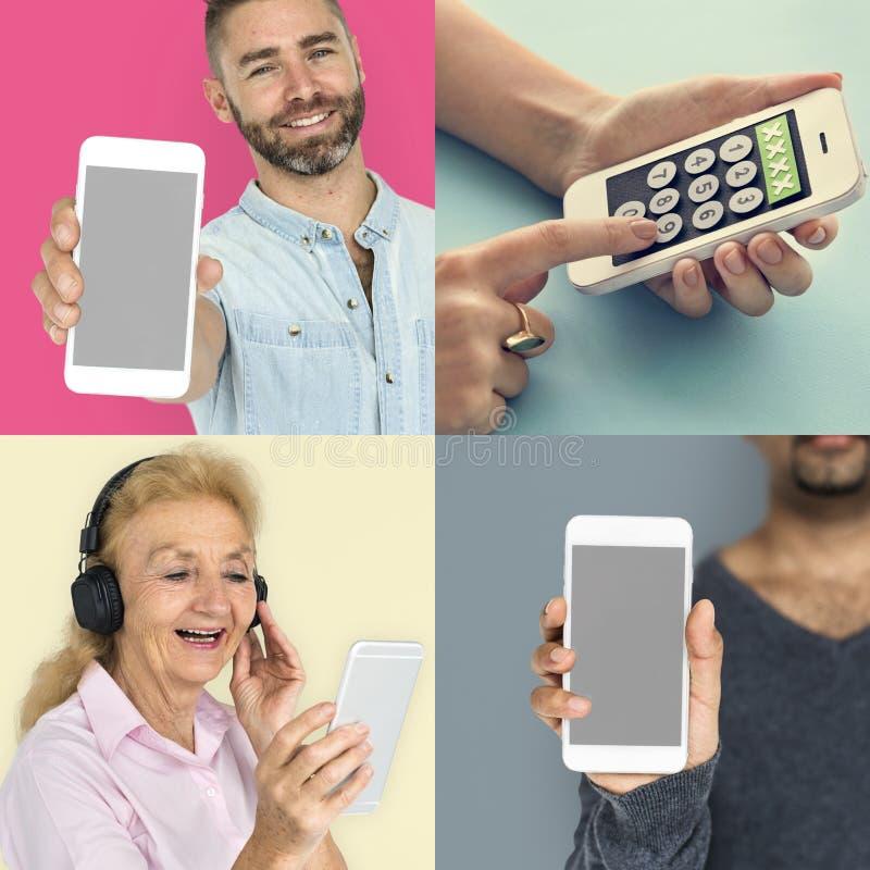 Colección de gente que usa el teléfono elegante imágenes de archivo libres de regalías