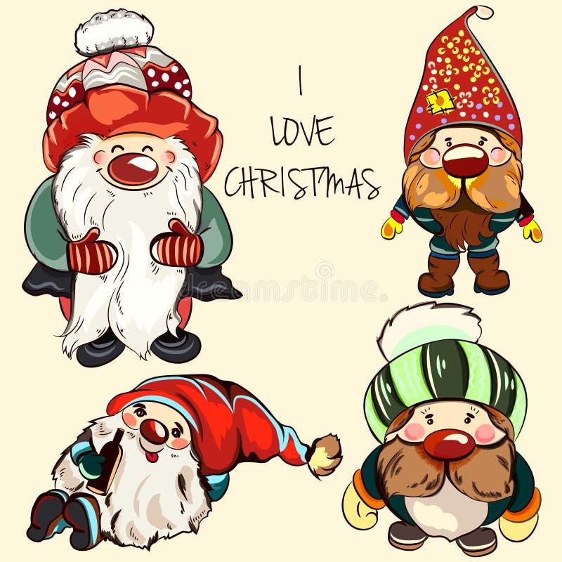 Colección de gnomos del vector para la Navidad ilustración del vector