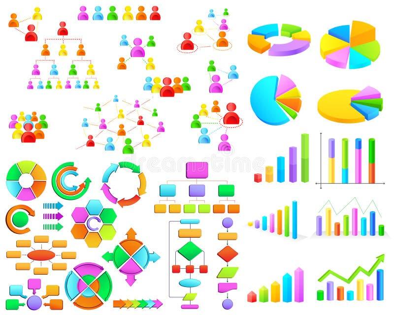 Colección de gráfico de negocio y de organigrama coloridos stock de ilustración