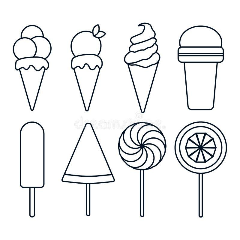 Colección de helado del contorno en el fondo blanco stock de ilustración