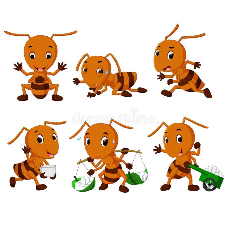 Colección de historieta de la hormiga ilustración del vector