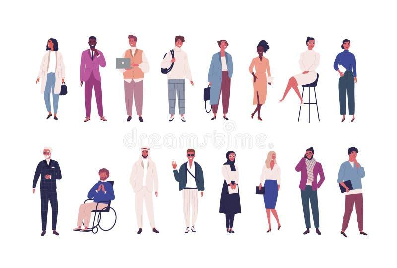 Colección de hombres de negocios, empresarios o varón y oficinistas de sexo femenino de la diversas pertenencia étnica y edad ais libre illustration