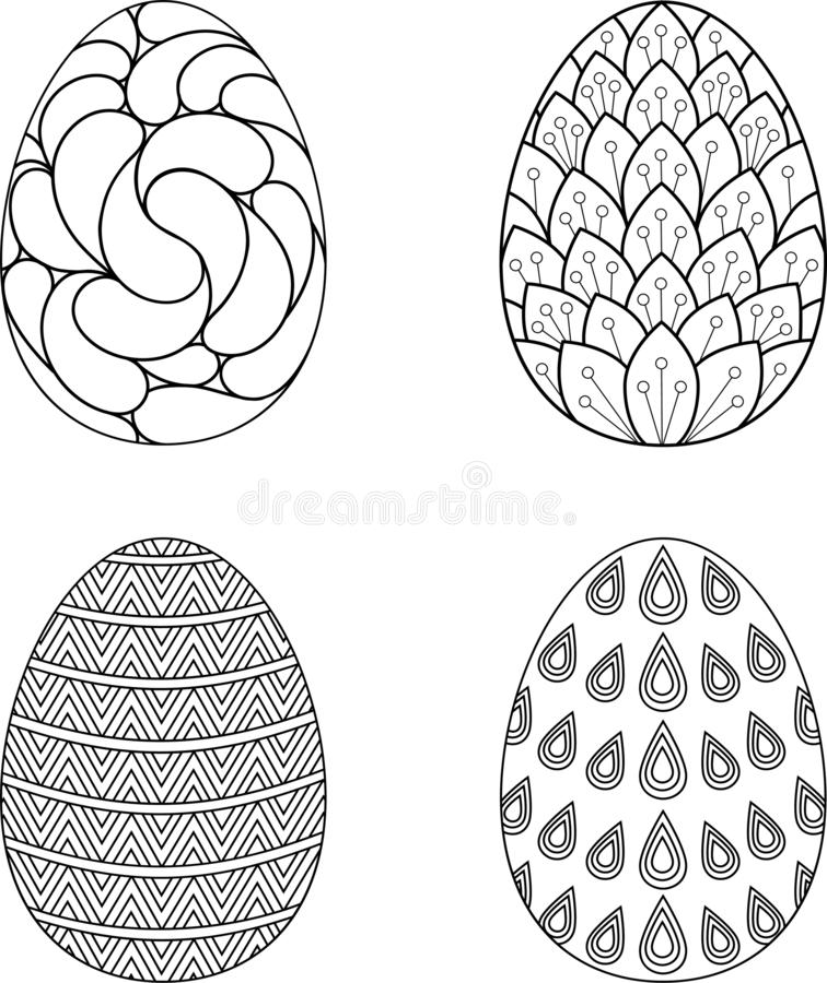 Colección de huevos de Pascua Diseño negro del esquema Ilustración del vector ilustración del vector