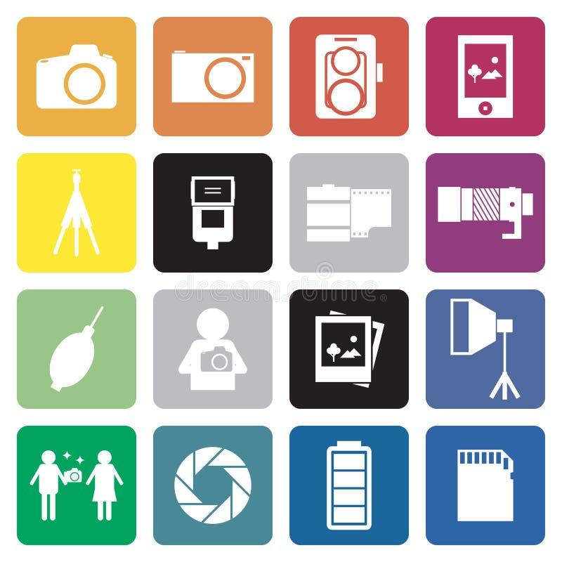 Colección de icono de la muestra de 16 camera&photographer. stock de ilustración