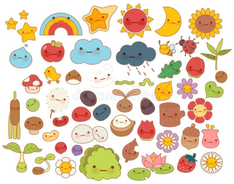 Colección de icono precioso del carácter del garabato de la naturaleza del bosque del bebé, estrella linda, flor adorable, fruta  stock de ilustración