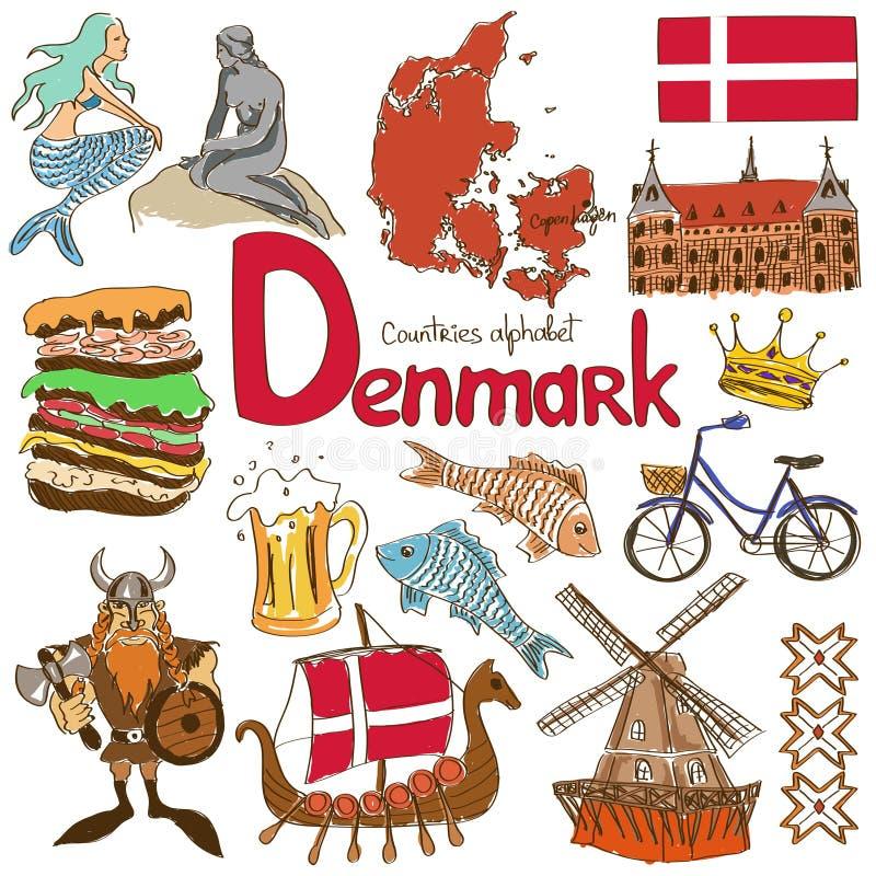 Colección de iconos de Dinamarca ilustración del vector