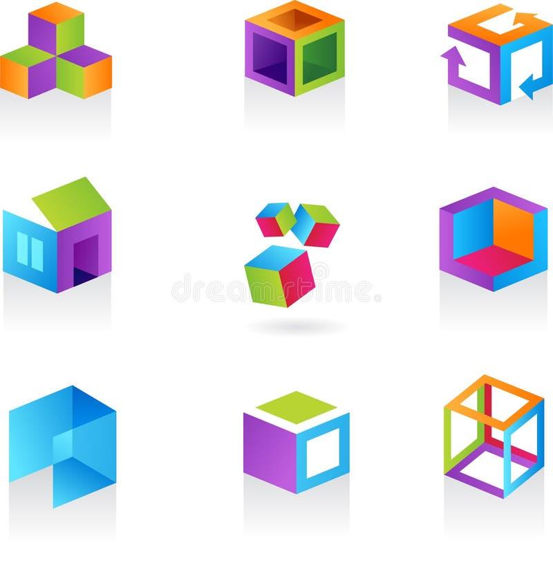 Colección de iconos/de insignias abstractos del cubo stock de ilustración