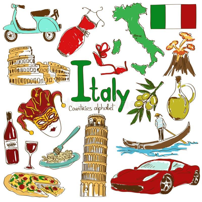 Colección de iconos de Italia stock de ilustración