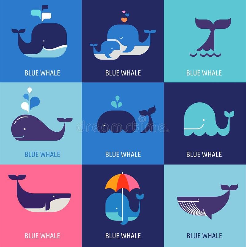 Colección de iconos de la ballena del vector libre illustration