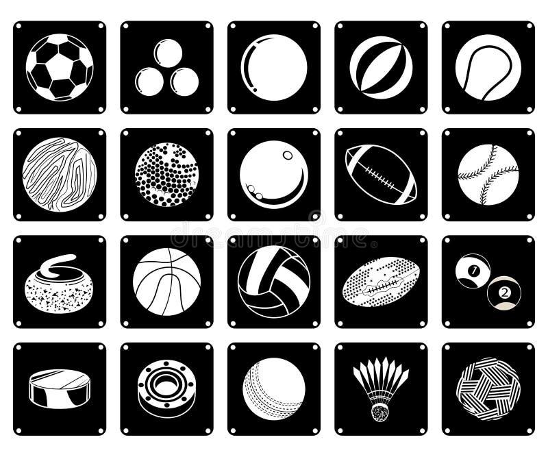 Colección de iconos de la bola del deporte en el fondo blanco ilustración del vector