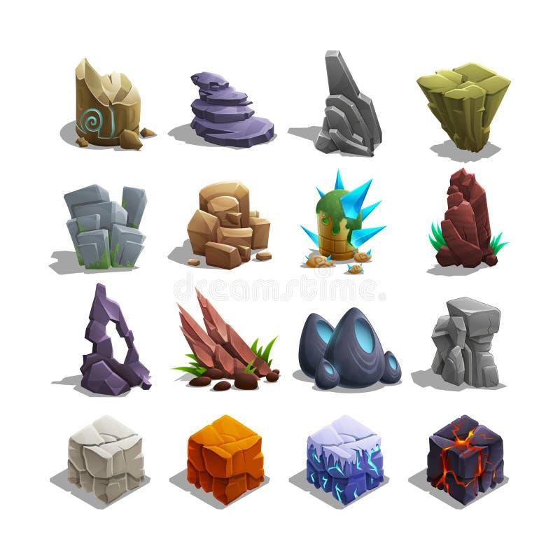 Colección de iconos de la decoración para los juegos Sistema de piedras de la historieta stock de ilustración