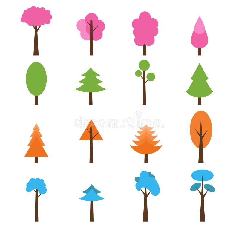 Colección de iconos de los árboles fijados Sazona el invierno del tema, primavera, suma stock de ilustración