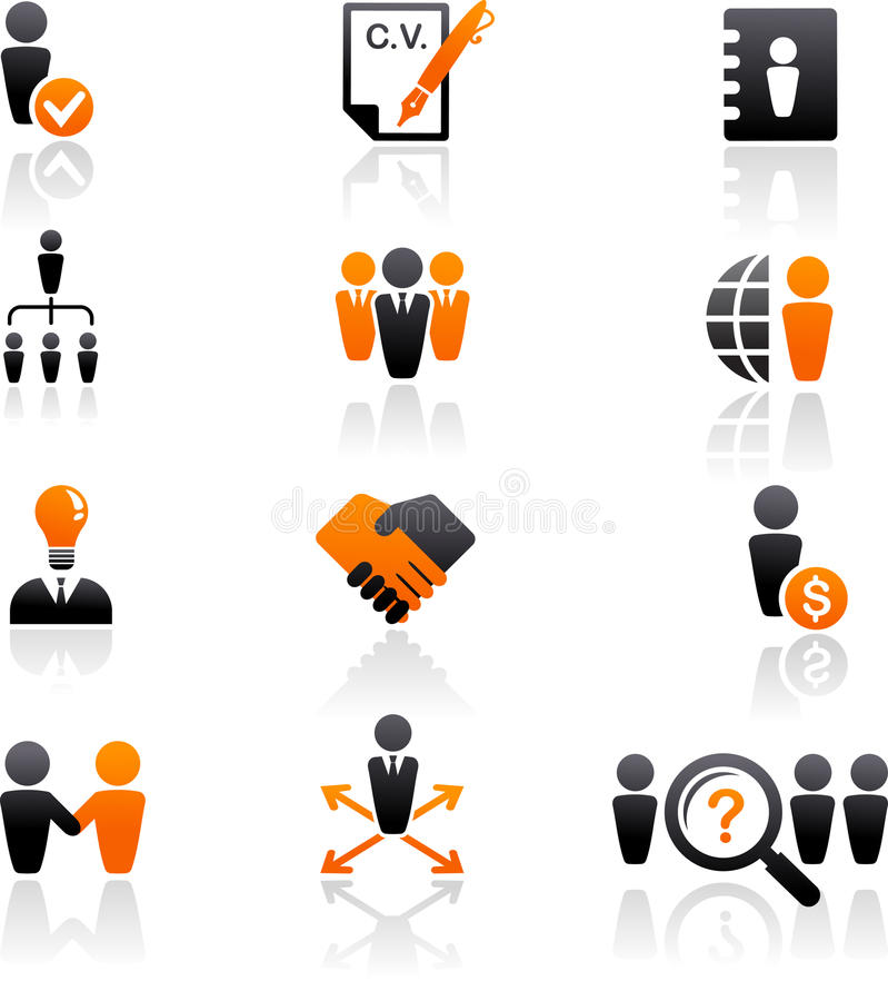 Colección de iconos de los recursos humanos stock de ilustración