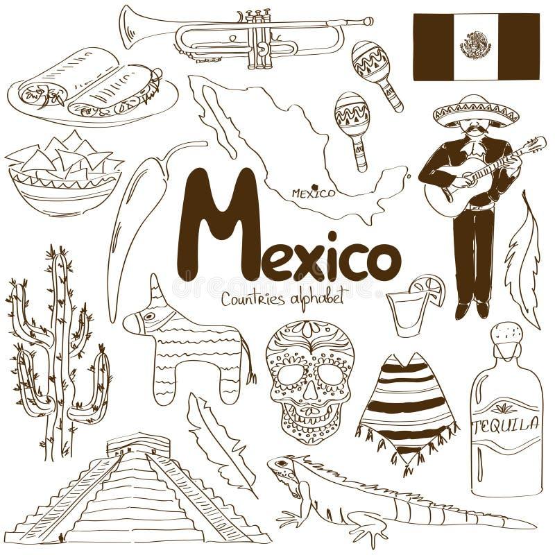 Colección de iconos de México libre illustration