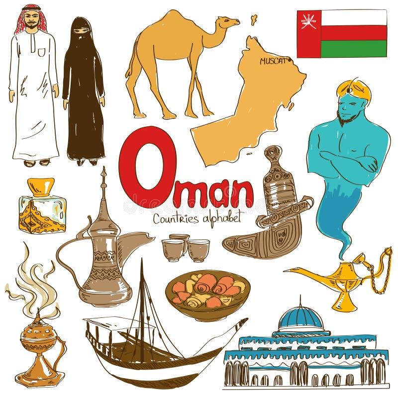 Colección de iconos de Omán ilustración del vector