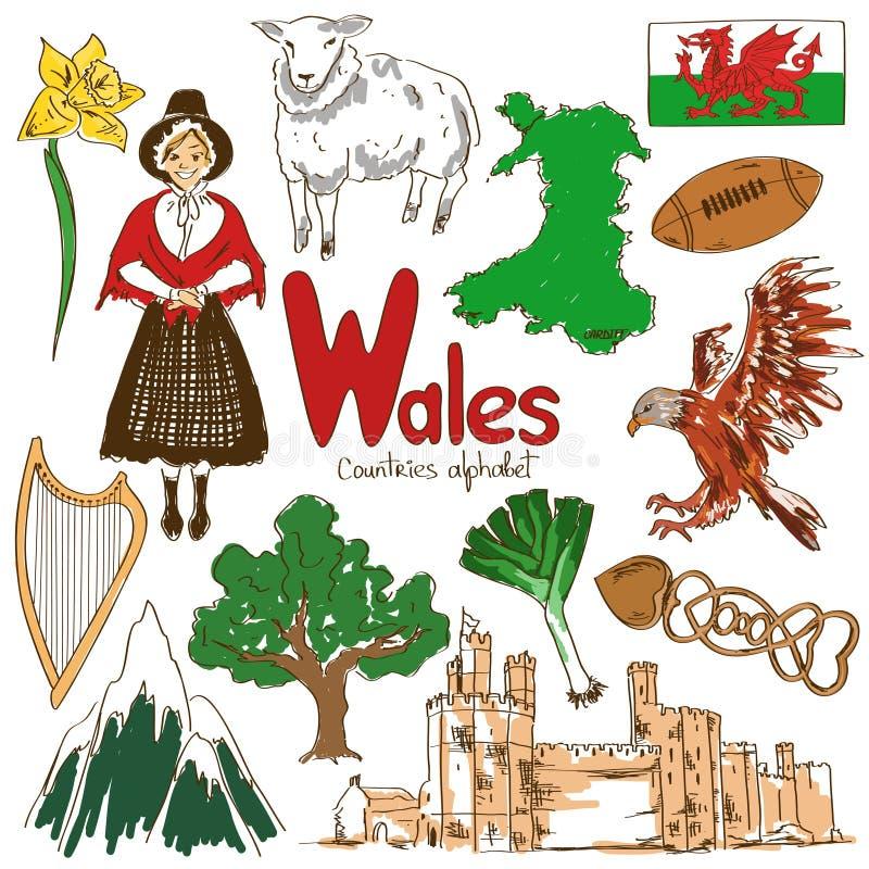 Colección de iconos de País de Gales ilustración del vector