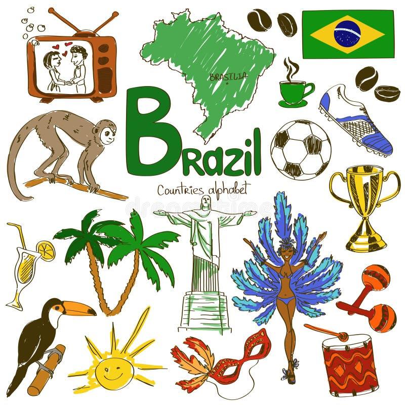 Colección de iconos del Brasil ilustración del vector