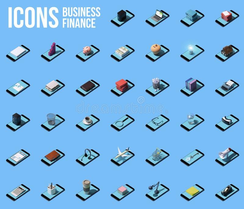 Colección de iconos del negocio y de las finanzas con smartphones ilustración del vector