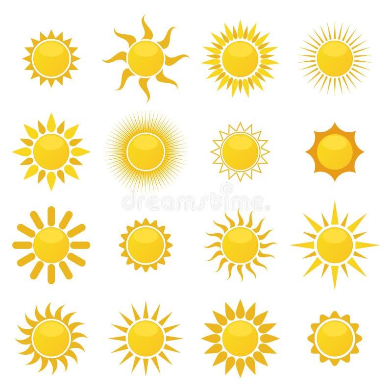 Colección de iconos del sol imágenes de archivo libres de regalías