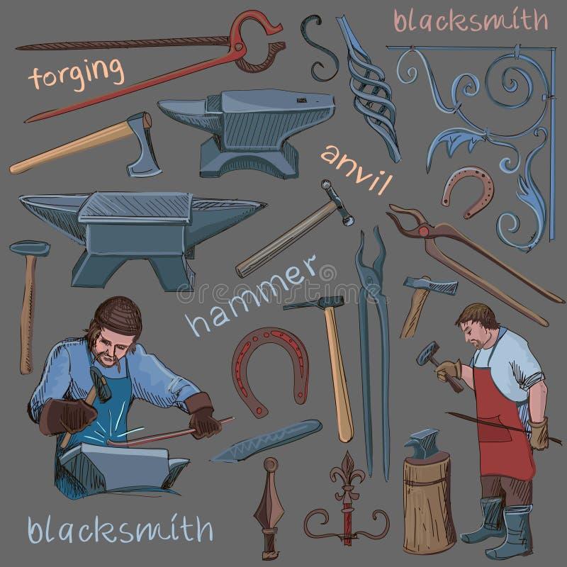 Colección de iconos dibujados mano del herrero stock de ilustración