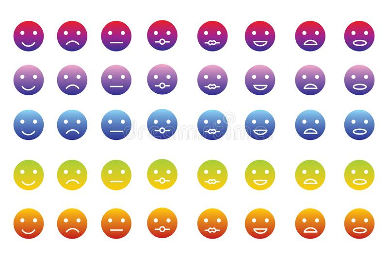 Colección de 8 iconos de emoticons en 5 pendientes del color libre illustration