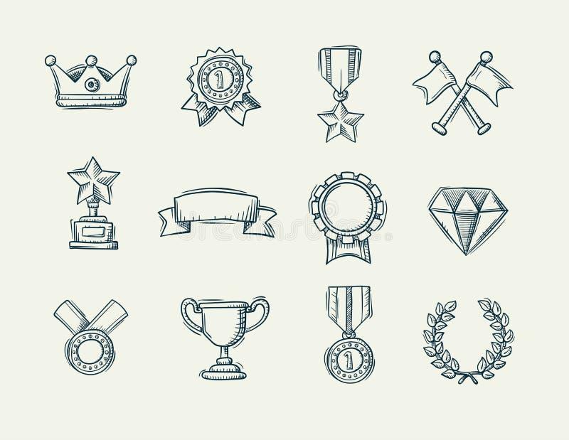 Colección de iconos handdrawn del premio del garabato ilustración del vector