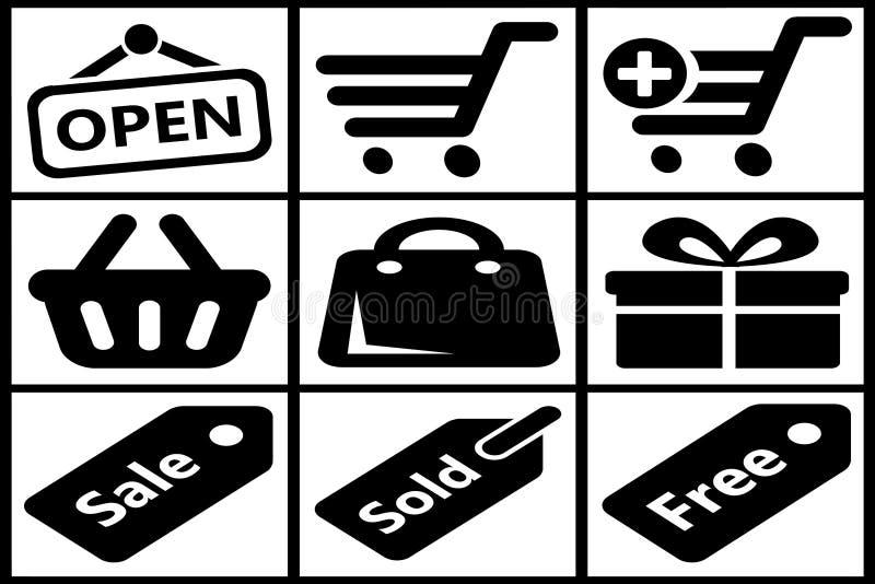 Colección de iconos negros de las compras stock de ilustración