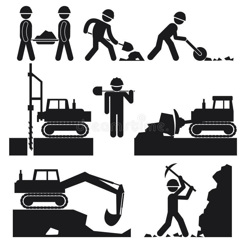 Colección de iconos negros de los terraplénes de la construcción ilustración del vector