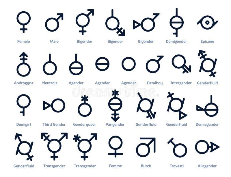 Colección de iconos o de muestras del género para la libertad sexual e igualdad en sociedad moderna stock de ilustración