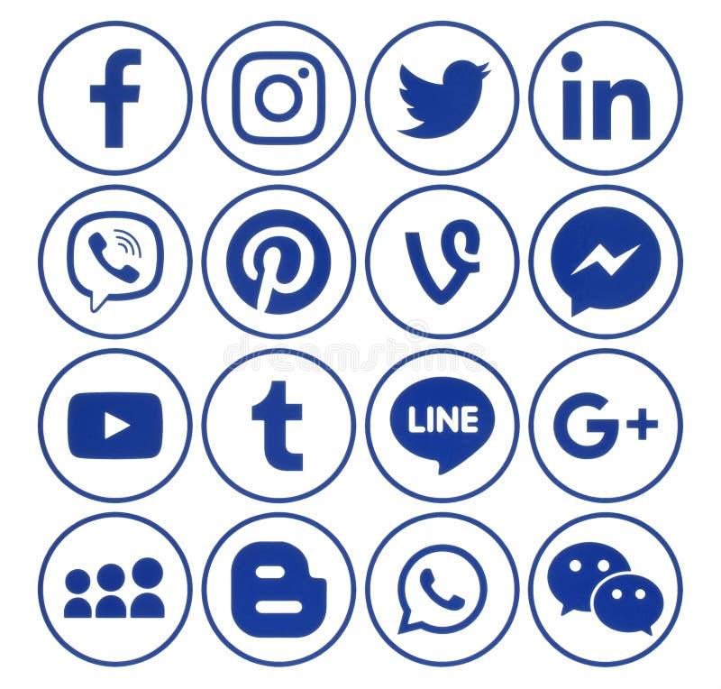 Colección de iconos sociales azules de los medios del círculo popular libre illustration