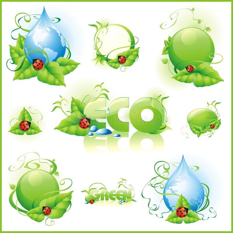 Colección de iconos verdes. ilustración del vector