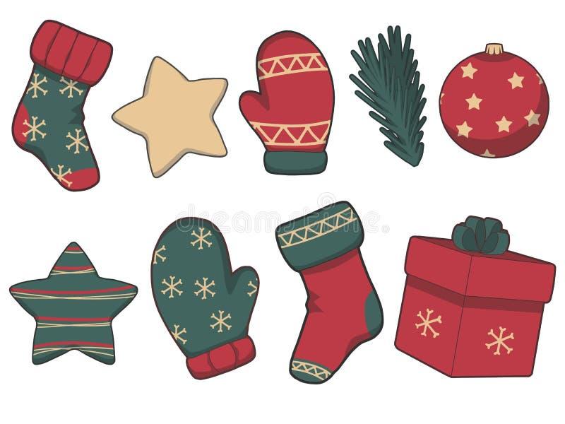 Colección de iconos verdes y rojos del vector de la Navidad ilustración del vector