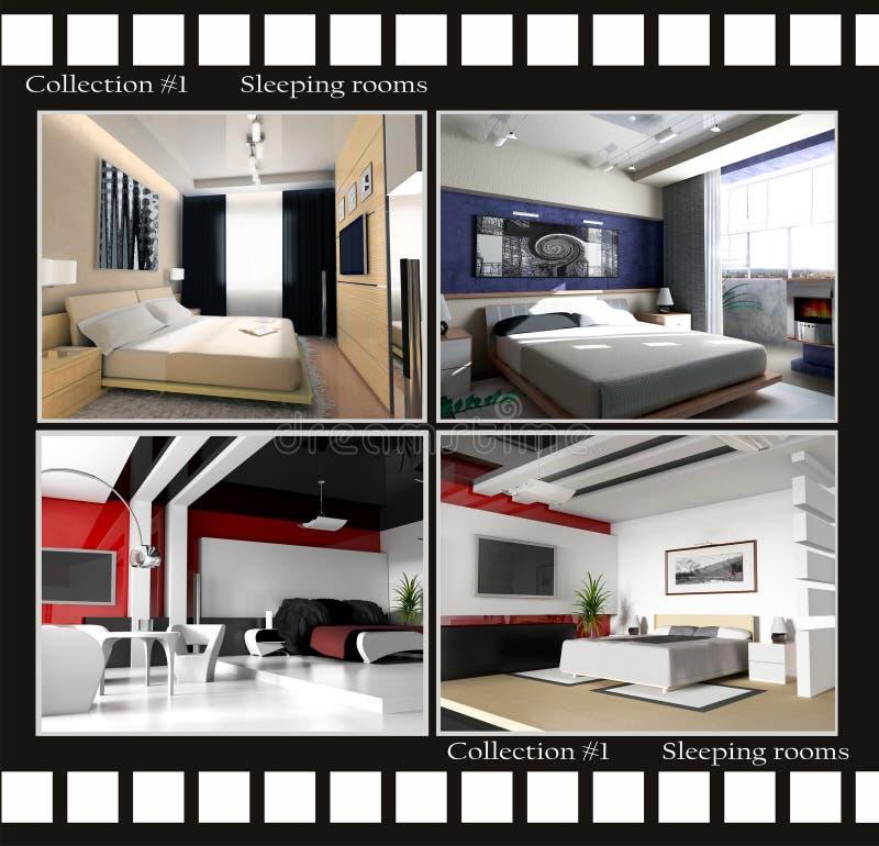 Colección de imágenes de cuartos durmientes stock de ilustración