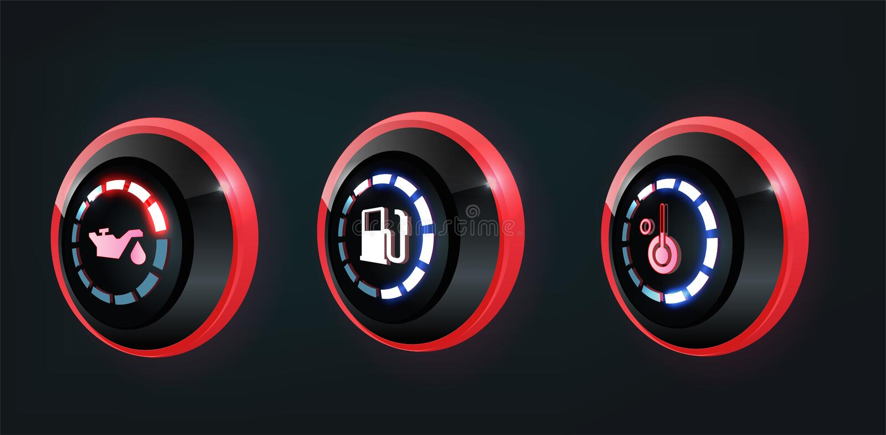 colección de indicadores del panel del tablero de instrumentos del coche, rojo, indicadores azules del vector 3D libre illustration