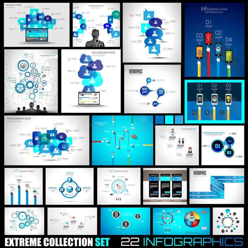 Colección de 22 Infographics para los medios sociales y las nubes stock de ilustración