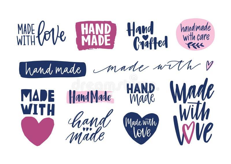 Colección de inscripciones hechas a mano para las etiquetas o etiquetas de productos handcrafted Sistema de frases o de lemas man libre illustration