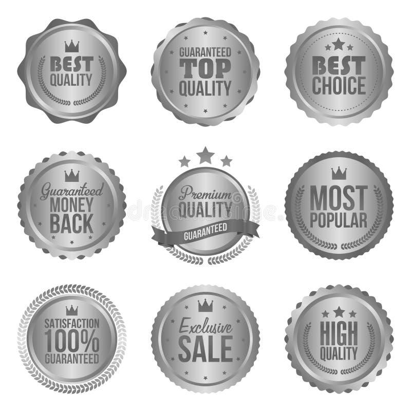 Colección de insignias del metal del círculo, de etiquetas y de elementos modernos, de plata del diseño libre illustration