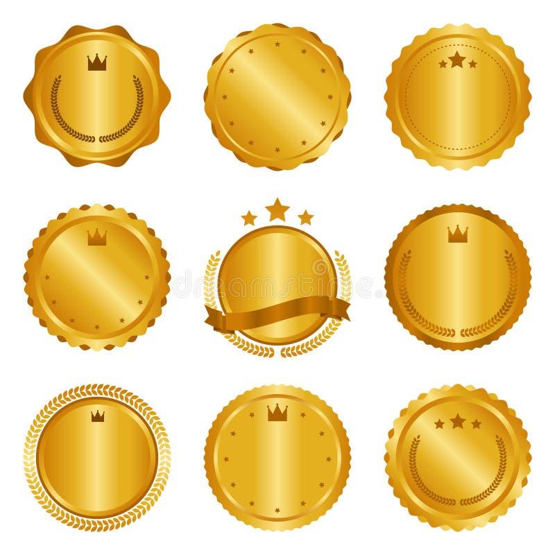 Colección de insignias modernas, del oro del círculo del metal, de etiquetas y de elementos del diseño Ilustración del vector stock de ilustración