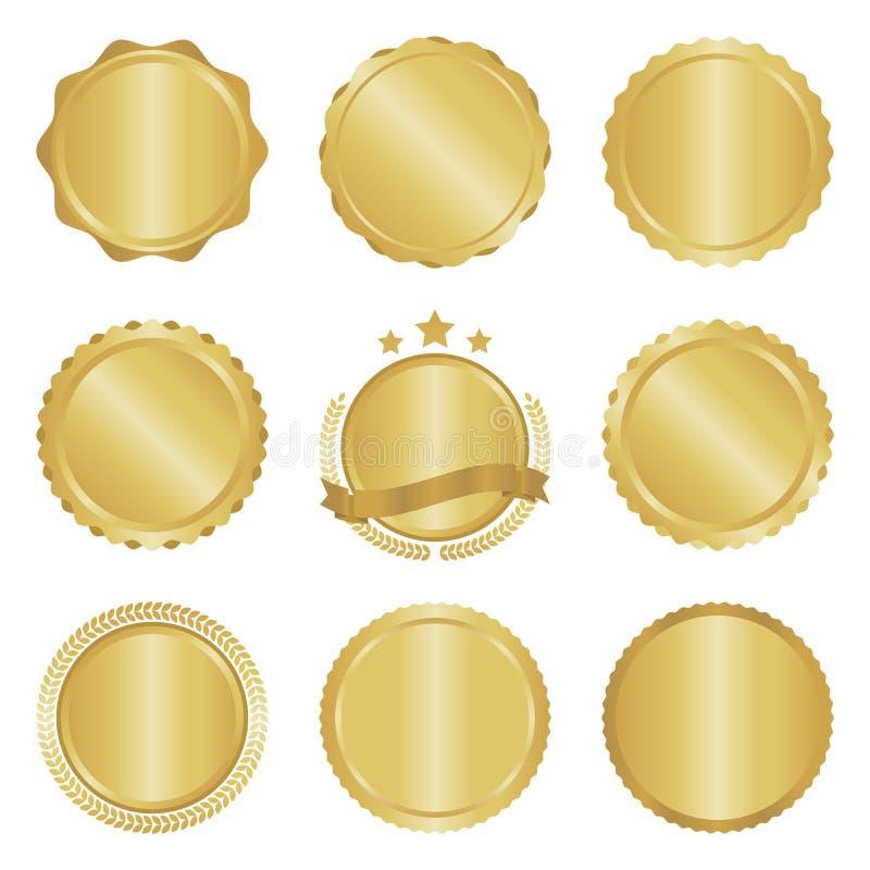 Colección de insignias modernas, del oro del círculo del metal, de etiquetas y de elementos del diseño stock de ilustración