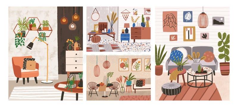 Colección de interiores con muebles cómodos elegantes y decoraciones caseras Paquete de salas de estar o de apartamentos acogedor stock de ilustración