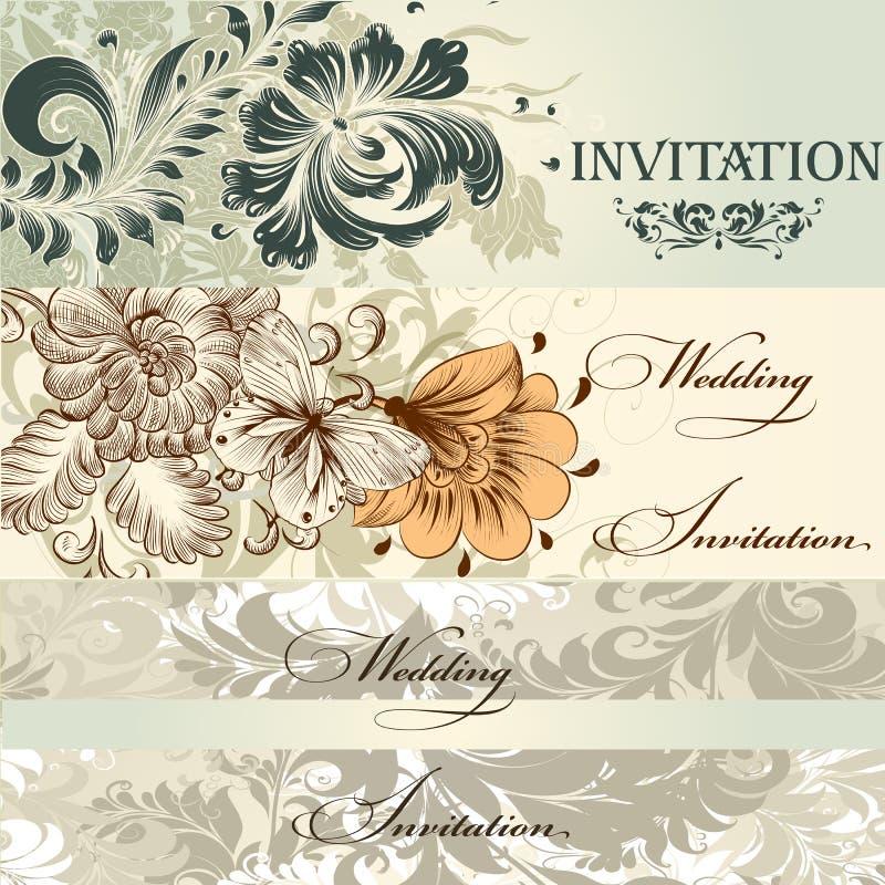 Colección de invitaciones de boda del vector en estilo del vintage stock de ilustración
