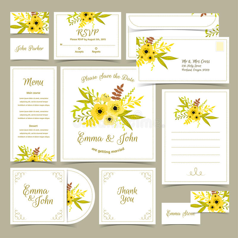 Colección de invitaciones de la boda stock de ilustración