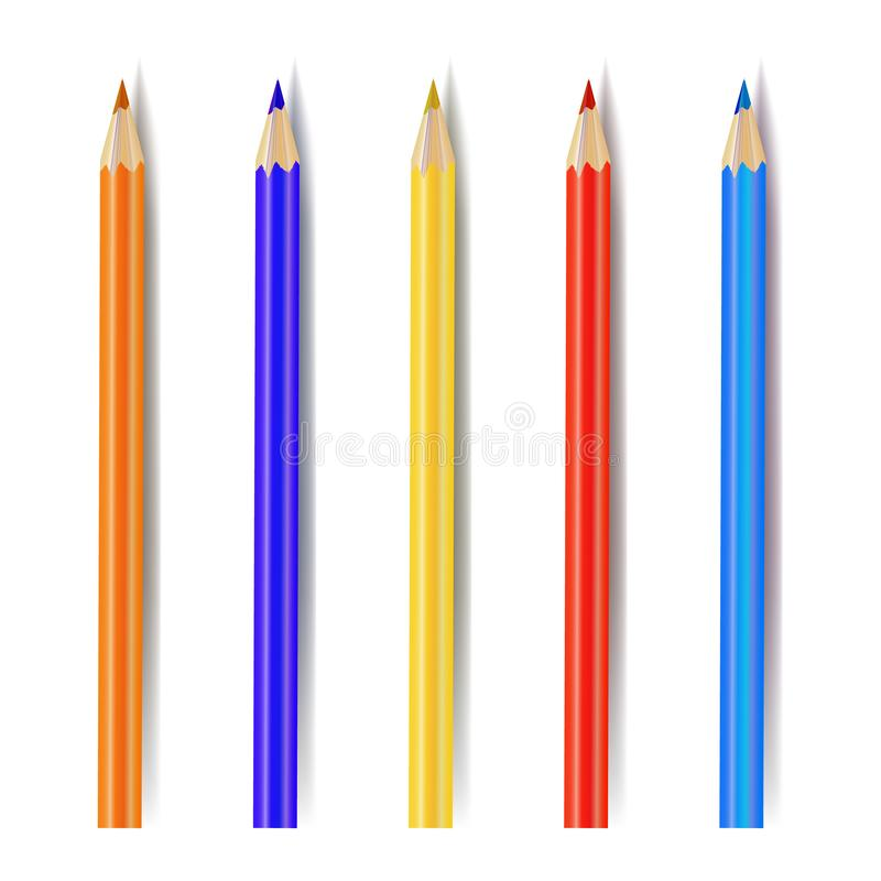 Colección de lápices coloreados, Art Supplies Isolated del vector ilustración del vector