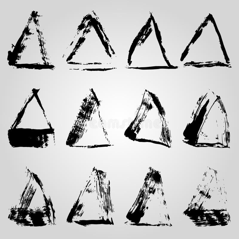 Colección de líneas y de rayas de marco monocromáticas de la tinta pintadas con un cepillo ilustración del vector