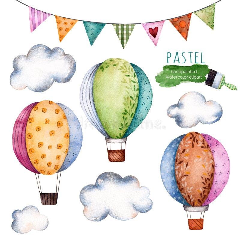 Colección de la acuarela con los balones de aire, las banderas de golpe ligero y las nubes stock de ilustración