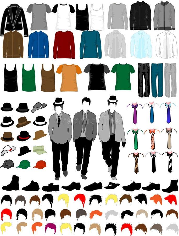 Colección de la alineada de los hombres stock de ilustración