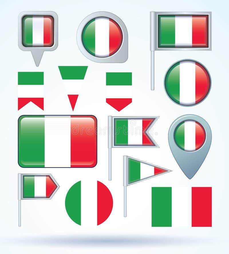 Colección de la bandera de Italia, ejemplo del vector libre illustration