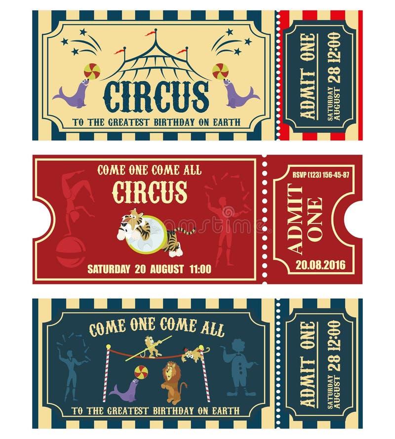 Colección de la bandera del circo del vintage Invitación del boleto stock de ilustración