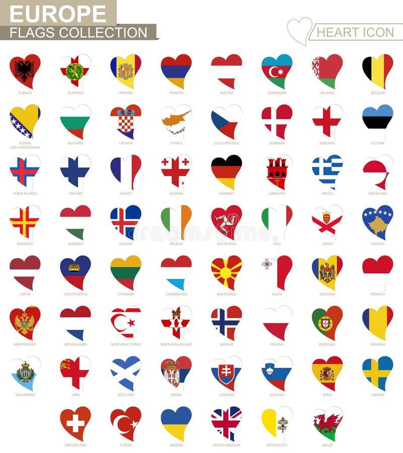 Colección de la bandera del vector de países europeos Sistema del icono del corazón libre illustration
